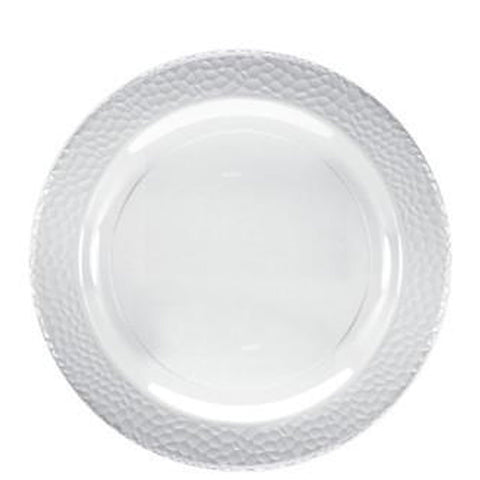 "Lillian Tablesettings Pebbled Plastic Plate Clear 9"" 12Ct"