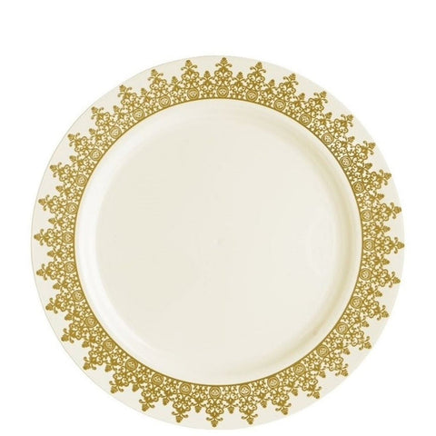 "Ornament Collection Design Dinner Plates Gold 9"" 10Ct"