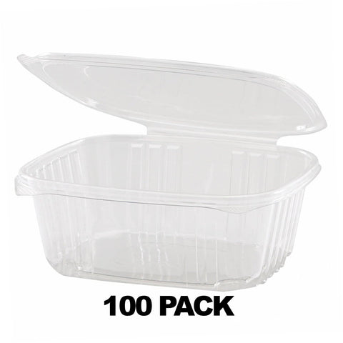 32 oz. Clear Plastic Hinged Deli Container with Flat Lid - 100Pk