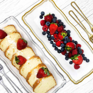 Aristocrat Collection Narrow Serving Trays White & Silver