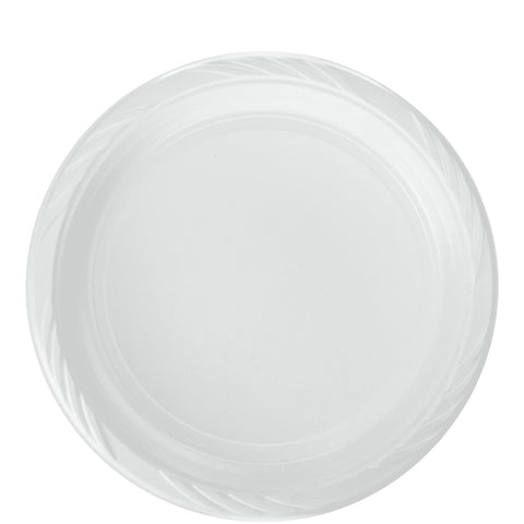 WHITE LIGHTWEIGHT PLASTIC DINNER PLATES 9IN 100CT