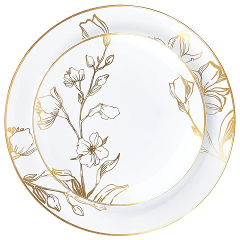 Antique Gold Floral Dinner Plates 9″