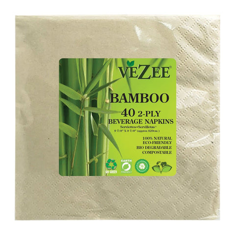 VEZEE BAMBOO DISPOSABLE BEVERAGE NAPKINS 2 PLY 40CT
