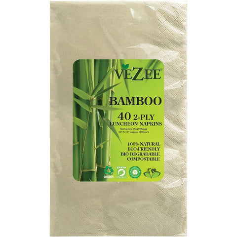 VEZEE BAMBOO DISPOSABLE BISTRO NAPKINS 2 PLY 40CT