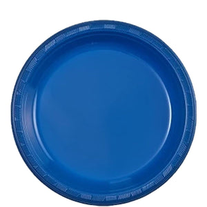 "Blue Plastic Plate 9"" Party Dimensions"