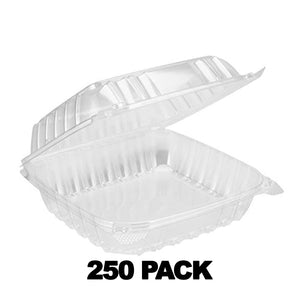 "8"" x 8"" x 3"" Square Clear Plastic Hinged Deli Container 250Pk"