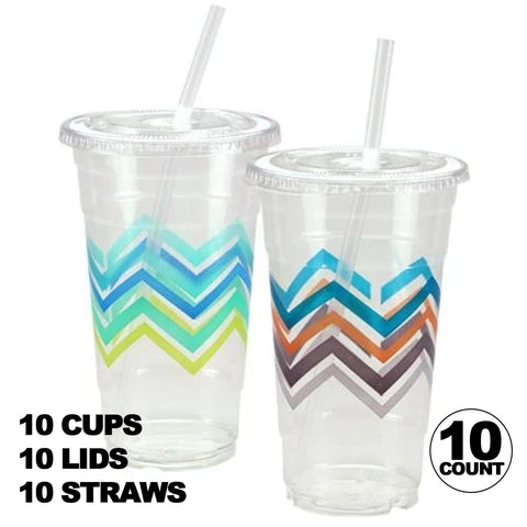 Premium Plastic Chevron Cups with Lids and Straws 24OZ 10CT