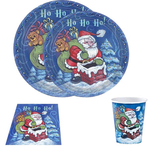 Christmas Santa Premium Heavyweight Dinner Paper Plates 7""