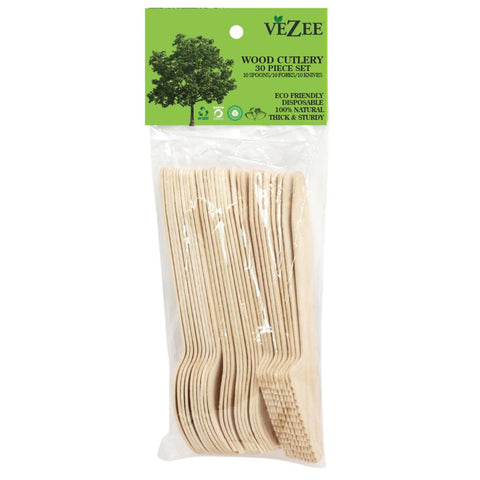 VEZEE BIRCHWOOD CUTLERY COMBO 30CT