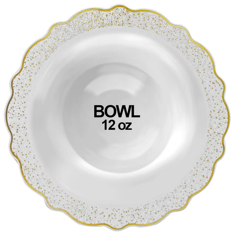 Confetti Collections Soup Bowls White Gold 12 oz