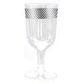 Crystal Collection Plastic Wine Cups Clear Lace Silver 10 oz Decorline