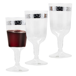 Hammered Collection Plastic Wine Cups Silver 10 oz