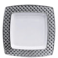 Diamond Collection Dinner Plate White Silver 9.75