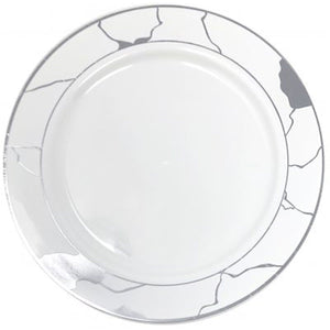 Marble Collections Dinner Plate White & Silver 10.25""