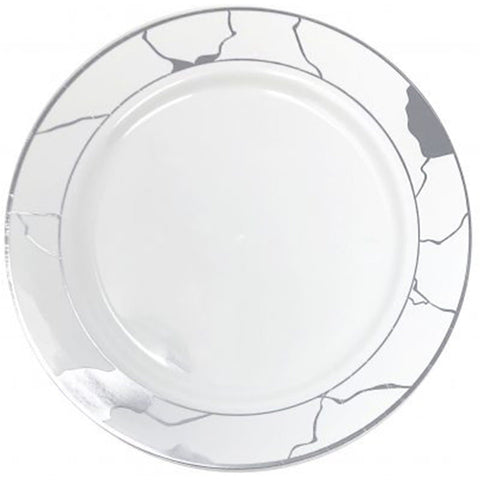 "Marble Collections Dinner Plate White & Silver 10.25"" 10Ct"