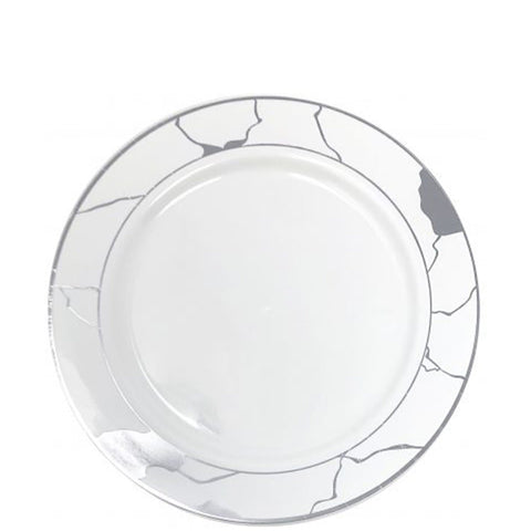 "Marble Collections Salad Plates White & Silver 7.5"" 10Ct"