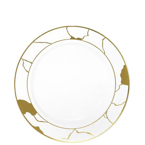 "Marble Collections Dinner Plate White & Gold 7.5"" 10Ct"