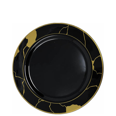"Marble Collections Salad Plate Black & Gold 7.5"" 10Ct"