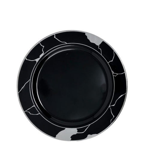 "Marble Collections Salad Plate Black & Silver 7.5"" 10Ct"