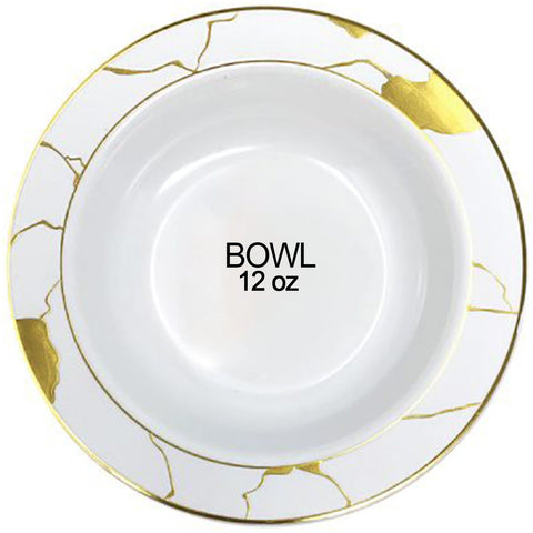 Marble Collection Plastic Soup Bowls White & Gold 12 OZ