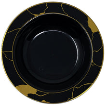 Marble Collection Plastic Soup Bowls Black & Gold 12 OZ