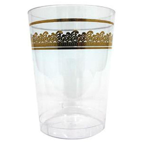 Prestige Collections Tumblers Clear Gold 10oz 10Ct - OnlyOneStopShop