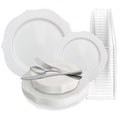 ANTIQUE COLLECTION ELEGANT WHITE PLASTIC TABLEWARE PACKAGE
