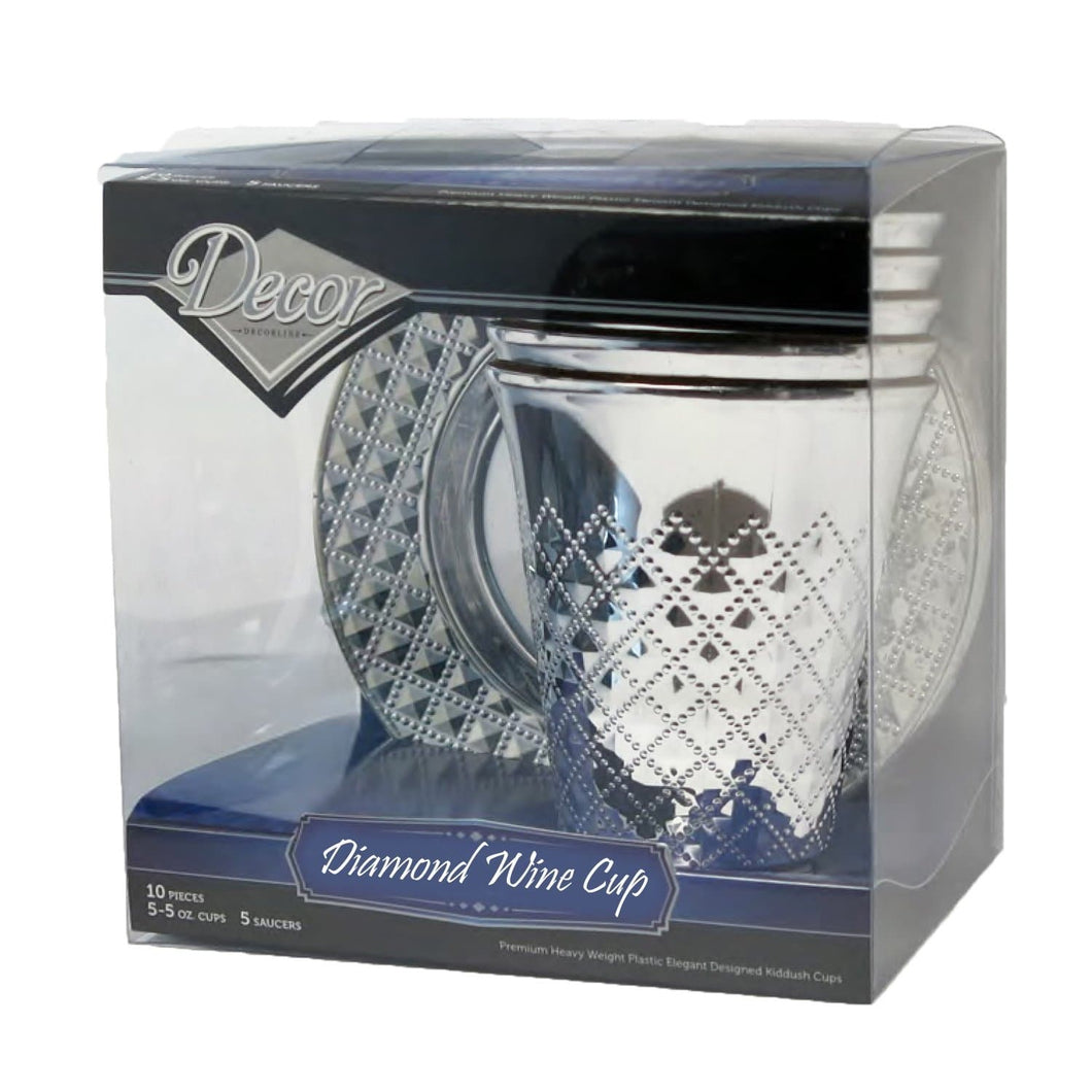 Decor Diamond Kiddush wine Cups and Saucers Silver 10Ct - OnlyOneStopShop