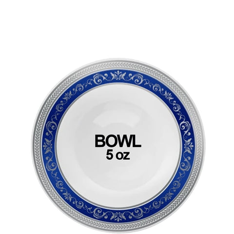 Royal Collection Ornament Plastic Dessert Bowls Blue Silver 5 oz