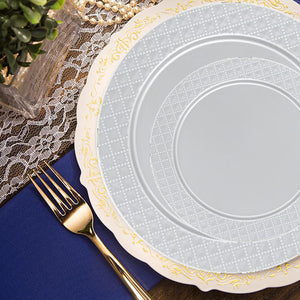 Charger Diamond Design Plates White 13""
