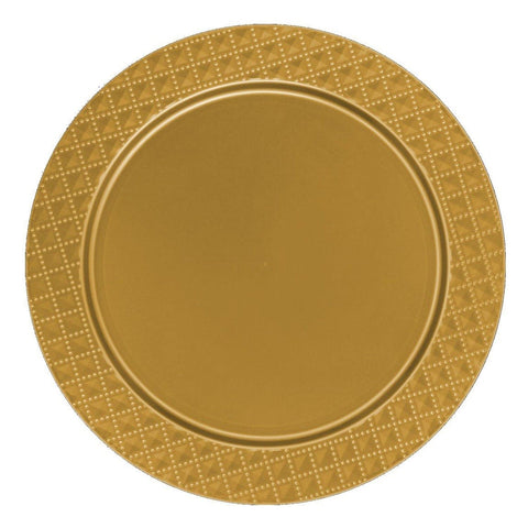 "Charger Diamond Design Plates Gold 13"" 2PK - OnlyOneStopShop"