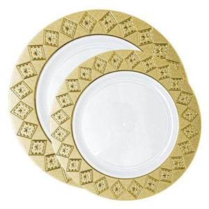 Imperial Crushed Plastic Salad Plates White Gold 7""