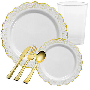 CONFETTI COLLECTIONS PLASTIC WHITE GOLD TABLEWARE PACKAGE
