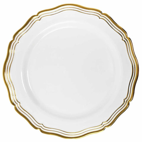 "Aristocrat Collections Dinner Plate White & Gold 10.25"" 10Ct"