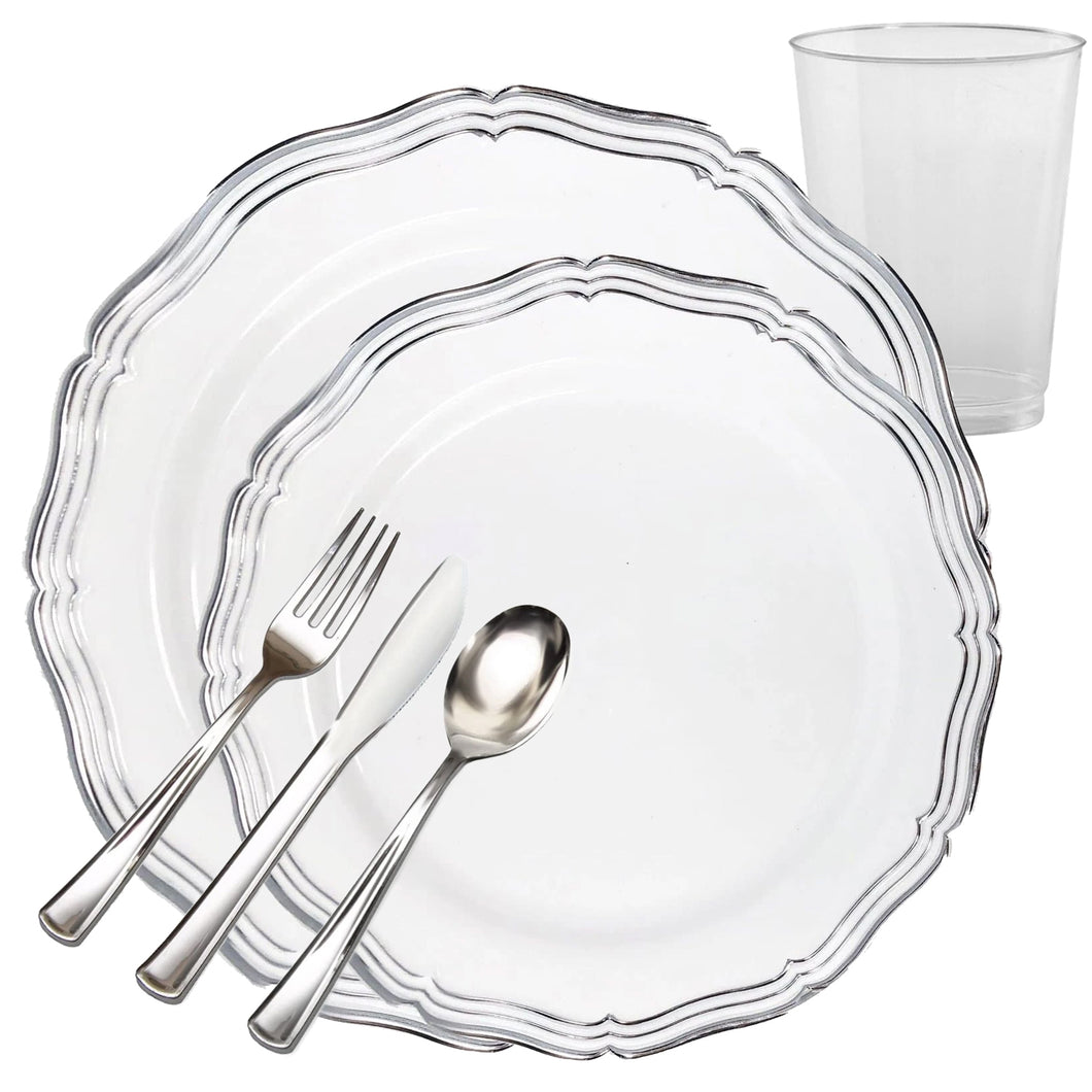 Aristocrat Collections Dinner Plate White & Silver Tableware Package