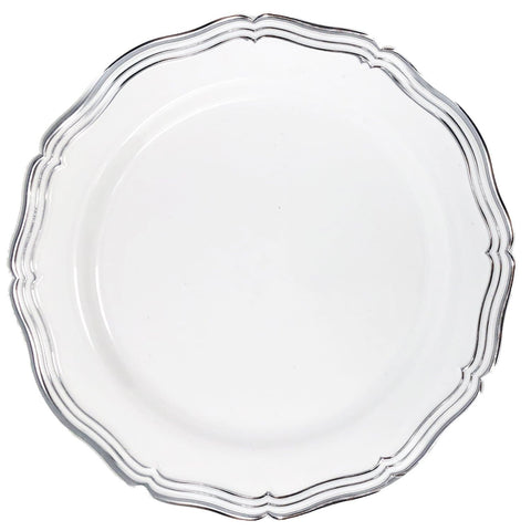 "Aristocrat Collections Dinner Plate White & Silver 10.25"" 10Ct"