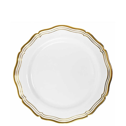 "Aristocrat Collections Salad Plate White & Gold 7.5"" 10Ct"