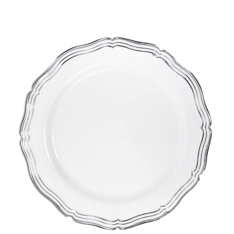 "Aristocrat Collections Salad Plate White & Silver 7.5"" 10Ct"
