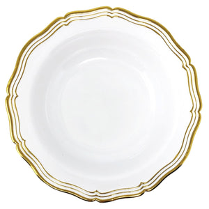 Aristocrat Collection Plastic Soup Bowls White & Gold 12 oz