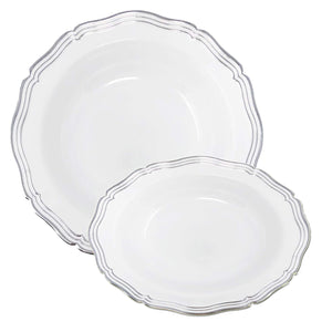 Aristocrat Collection Plastic Soup Bowls White & Silver 12 oz