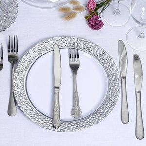 HAMMERED COLLECTIONS WHITE SILVER PLASTIC TABLEWARE PACKAGE