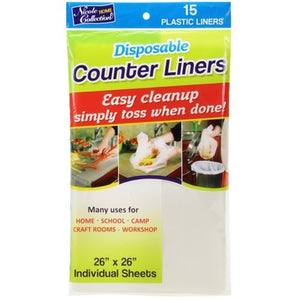 "Disposable Plastic Counter Liners For Easy cleanup 26""X26"" 15Ct Nicole Collection"