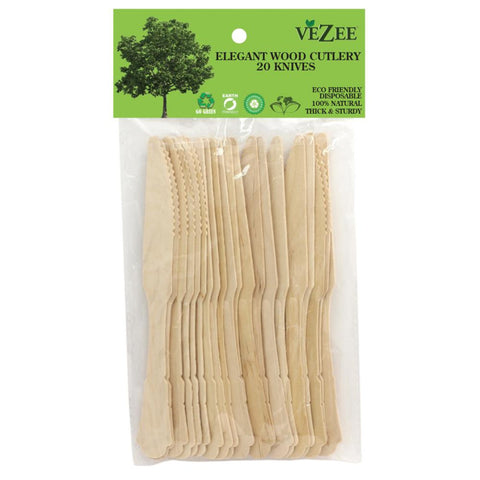 VEZEE ELEGANT WOODEN KNIVES 20CT