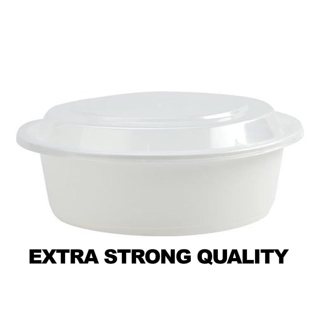 Extra Strong Quality Microwaveable Round Containers White 9
