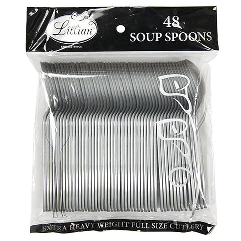 Lillian Tablesettings Extra Strong Quality Premium Plastic Soup Spoon Silver 48Ct