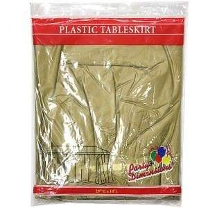 Gold Plastic 29''X14'' Tableskirt Party Dimensions