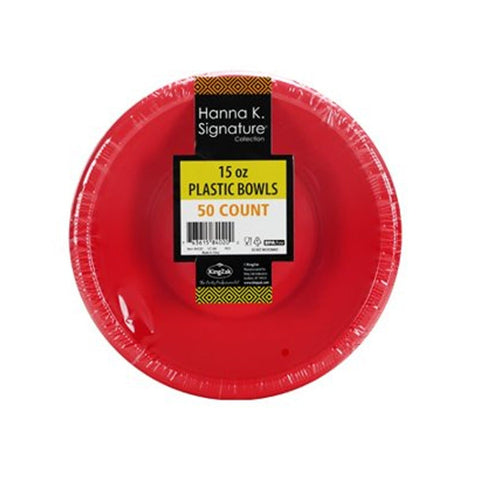 Hanna K. Signature Plastic Bowl Red 15 oz 50Ct