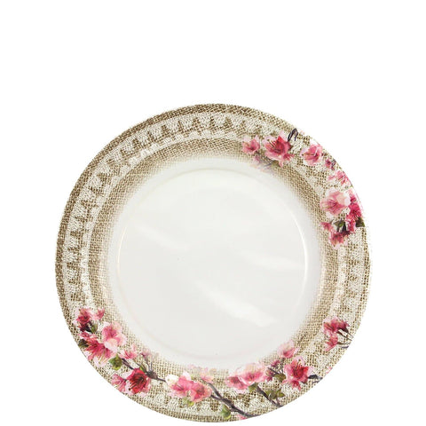 "Burlap Blossom Coated Paper Salad Plates 7"" 36Ct"