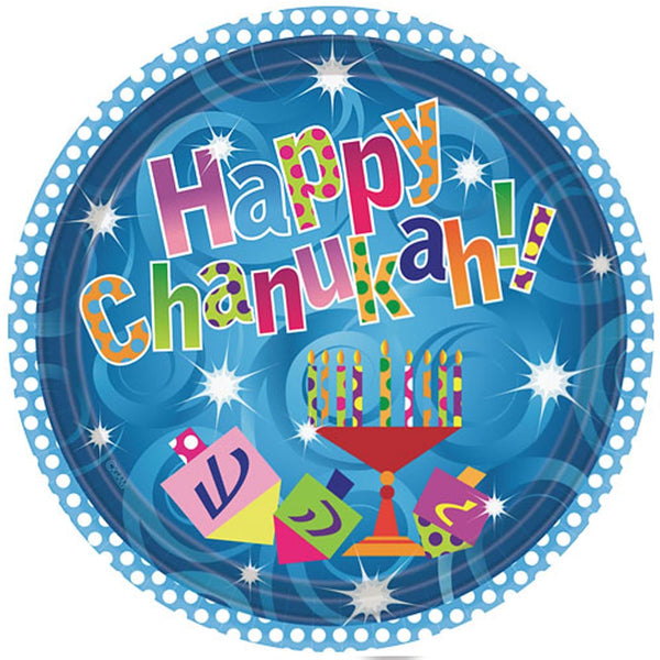 "Hanna K. Signature Happy Chanukah Paper plates 10.25"" 18Ct"