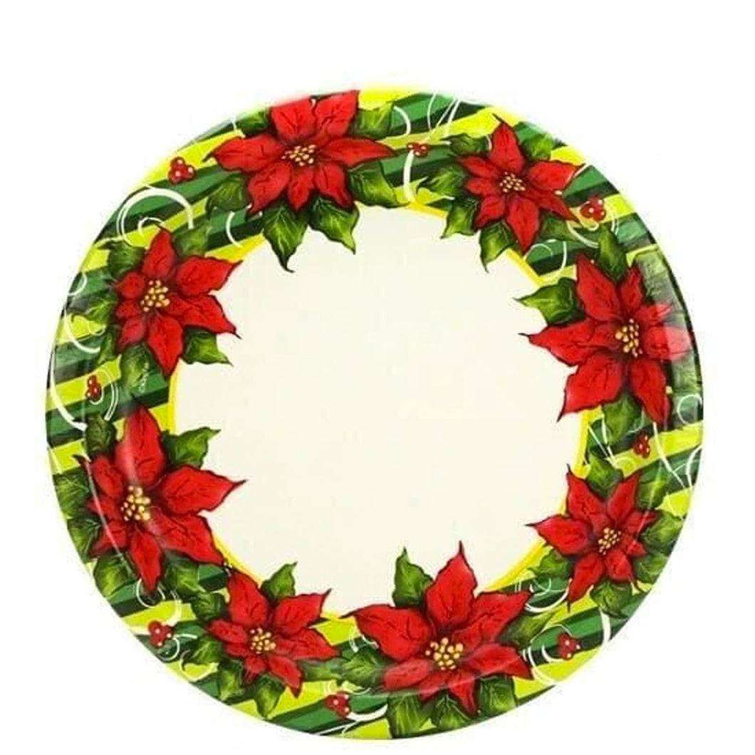 Poinsettia Wreath Premium Heavyweight Dinner Paper Plates 7
